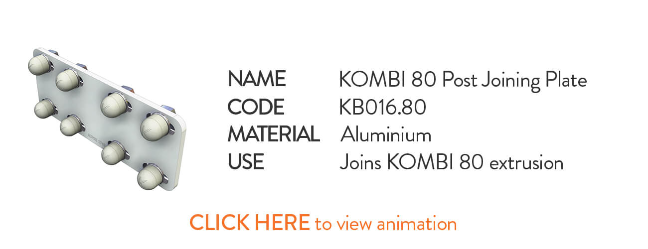 Kombi KB016.80 Post Joining Plate image - click to view animation