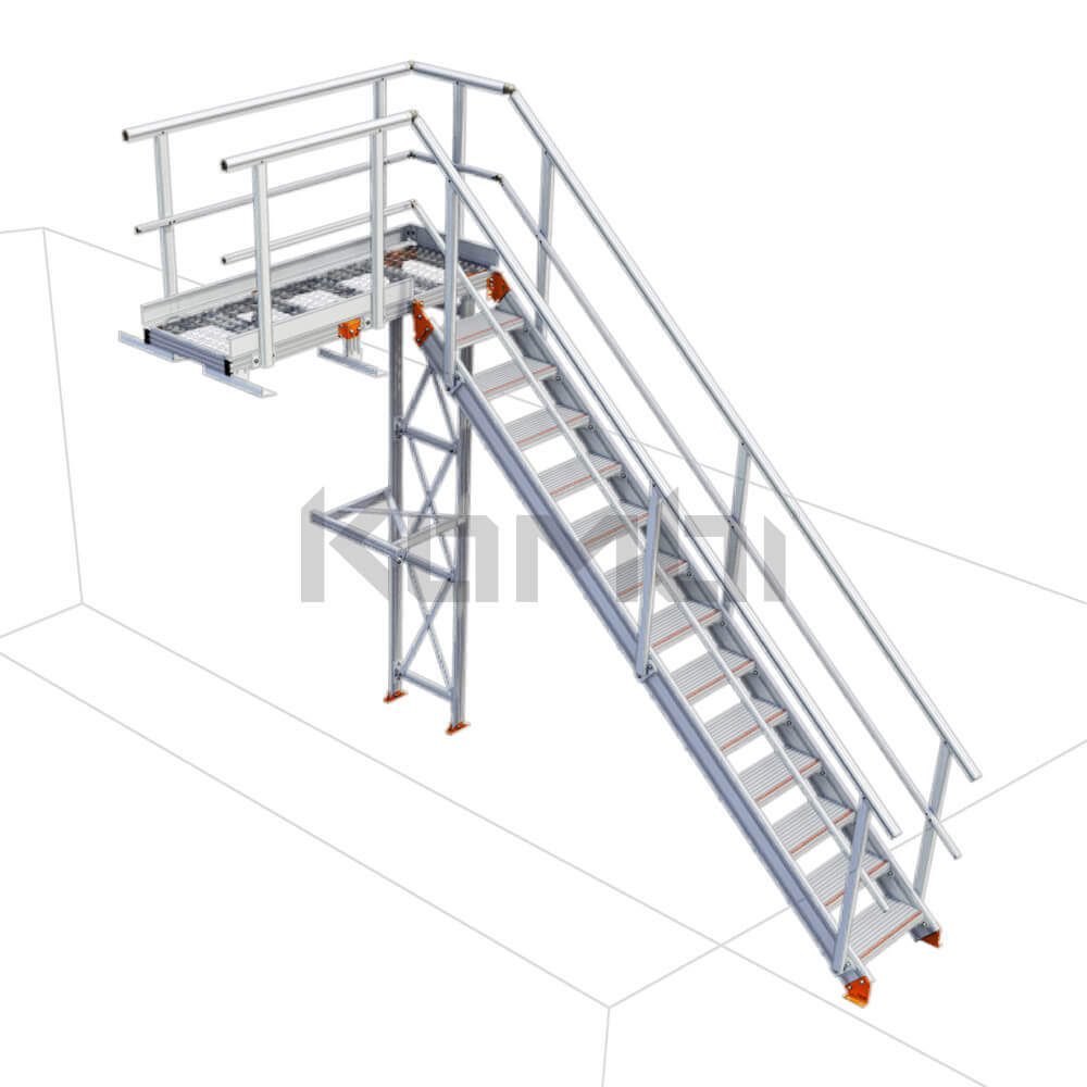 Image of Kombi KS20L stair and platform with no supports - left exit - click to download