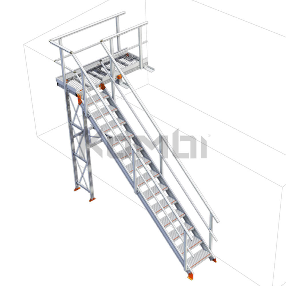 Image of Kombi stair and platform no supports right exit - click to download