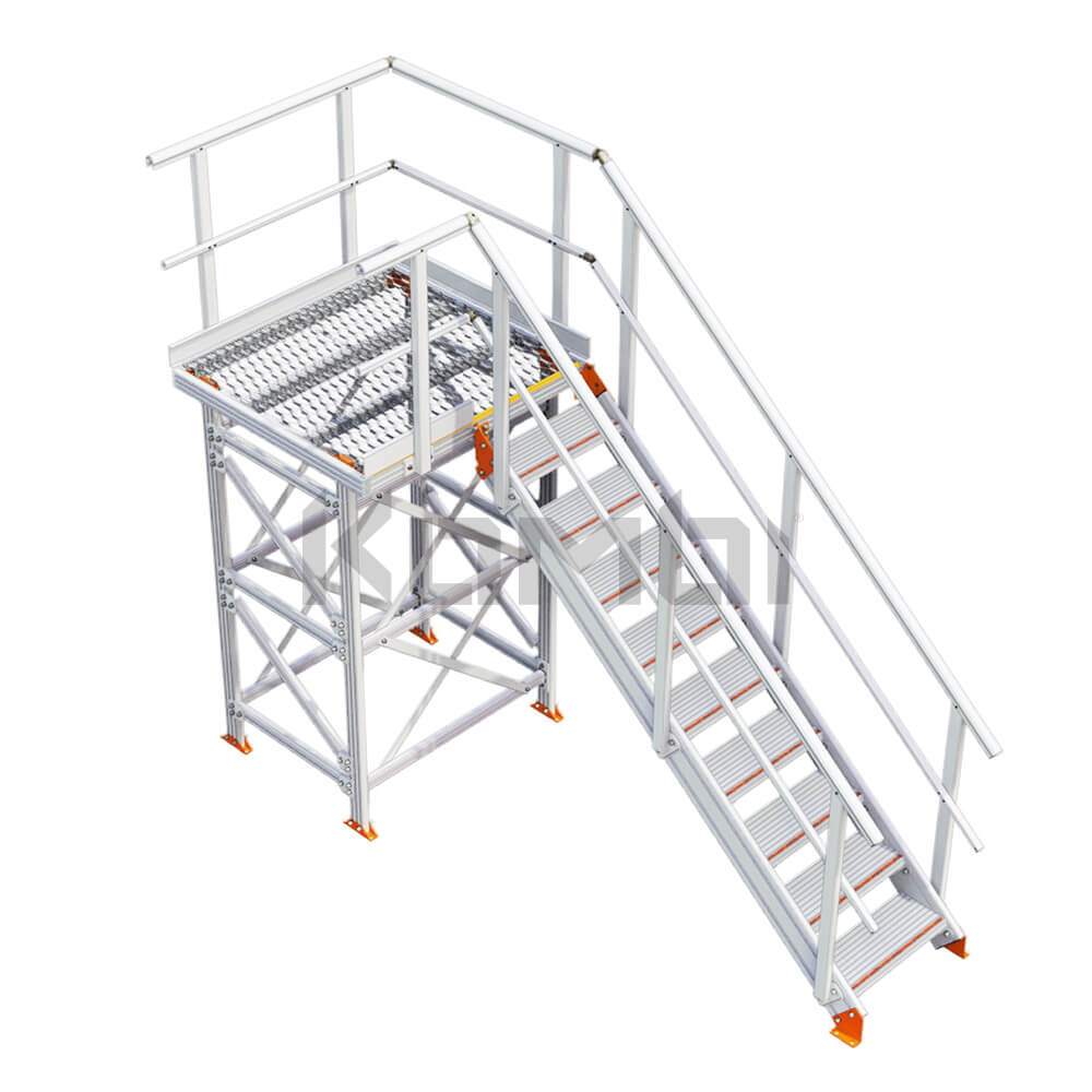 Image of Kombi KS30L stair and platform with supports, left exit - click to download