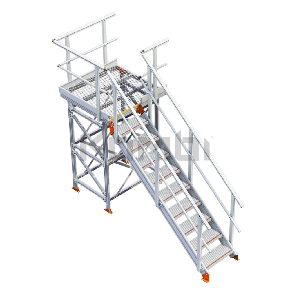 Image of Kombi KS30R stair and platform with supports, right exit - click to download
