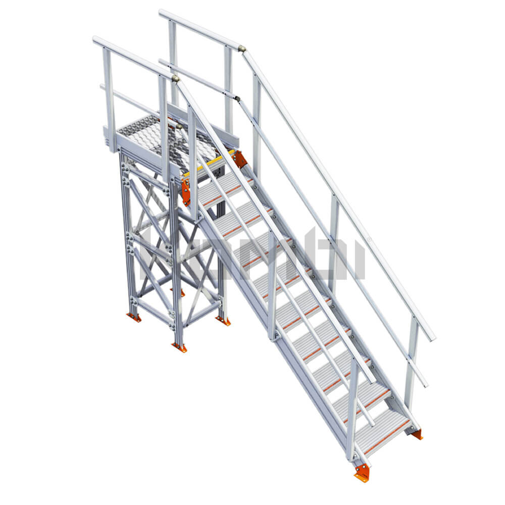 Imge of Kombi KS30 Stair and Platform with supports, straight exit - click to download