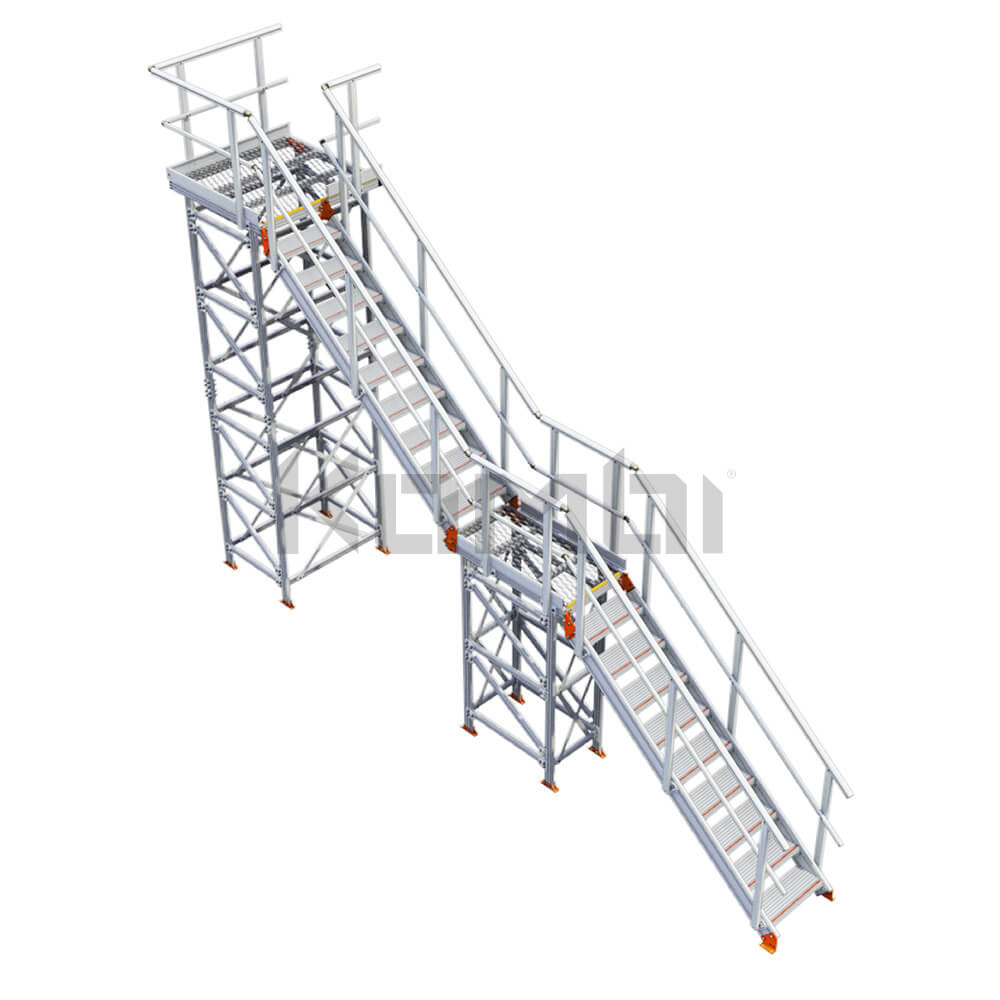 Image of Kombi KS40R stair and platform, inline, 2 stage, right exit - click to download