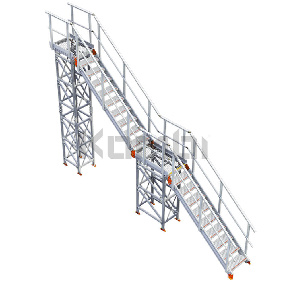 Image of Kombi KS40 stair and platform, inline, 2 stage - click to download