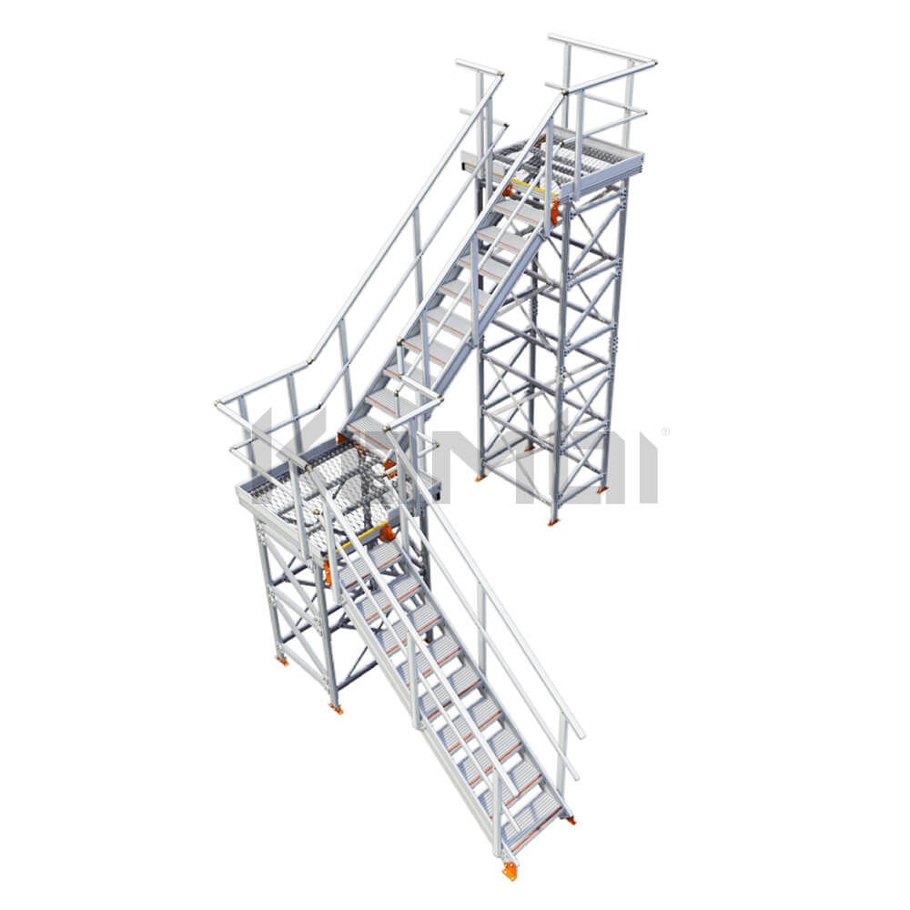 Image of Kombi KS50 stair and platform, L-shape, 2 stage, left exit - click to download