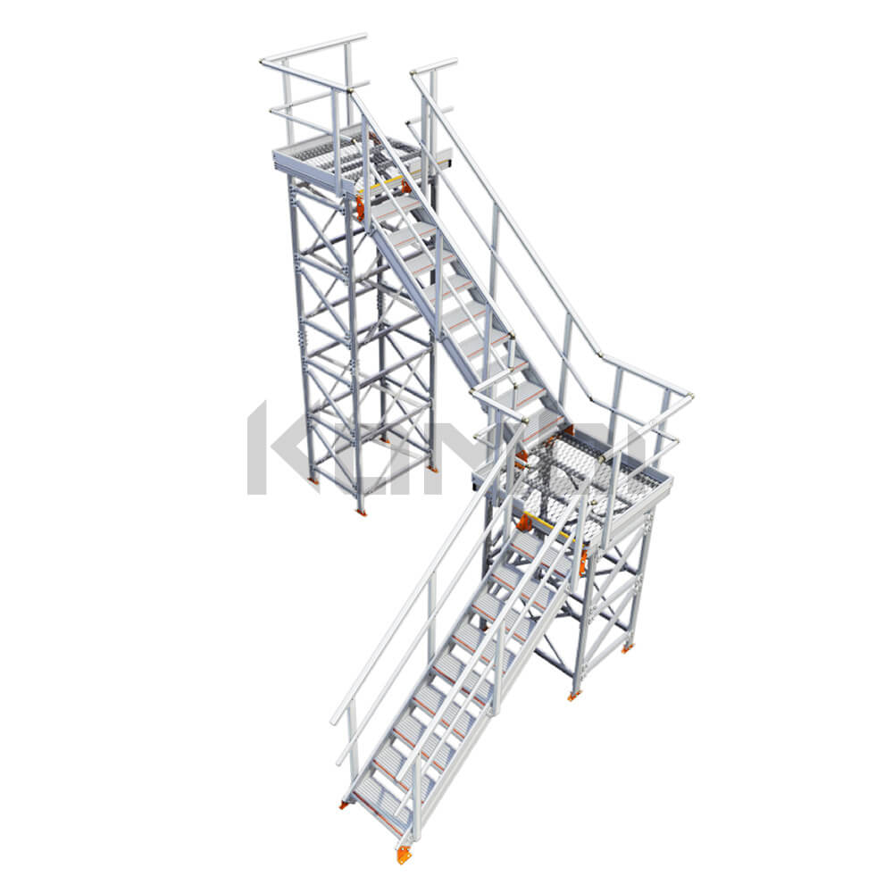 Image of Kombi KS50R stair and platform, L-shape, 2 stage, right exit - click to download