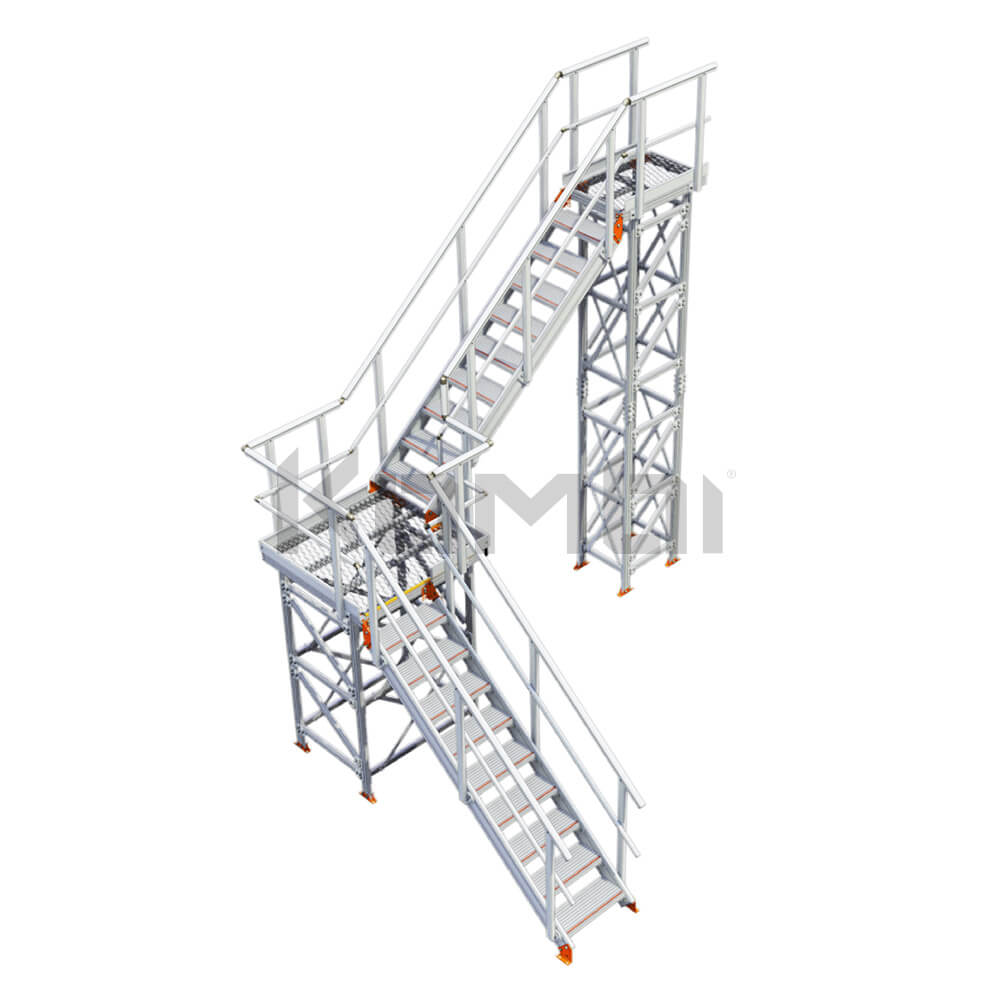 Image of Kombi KS50 stair and platform, L-shape, 2 stage - click to download