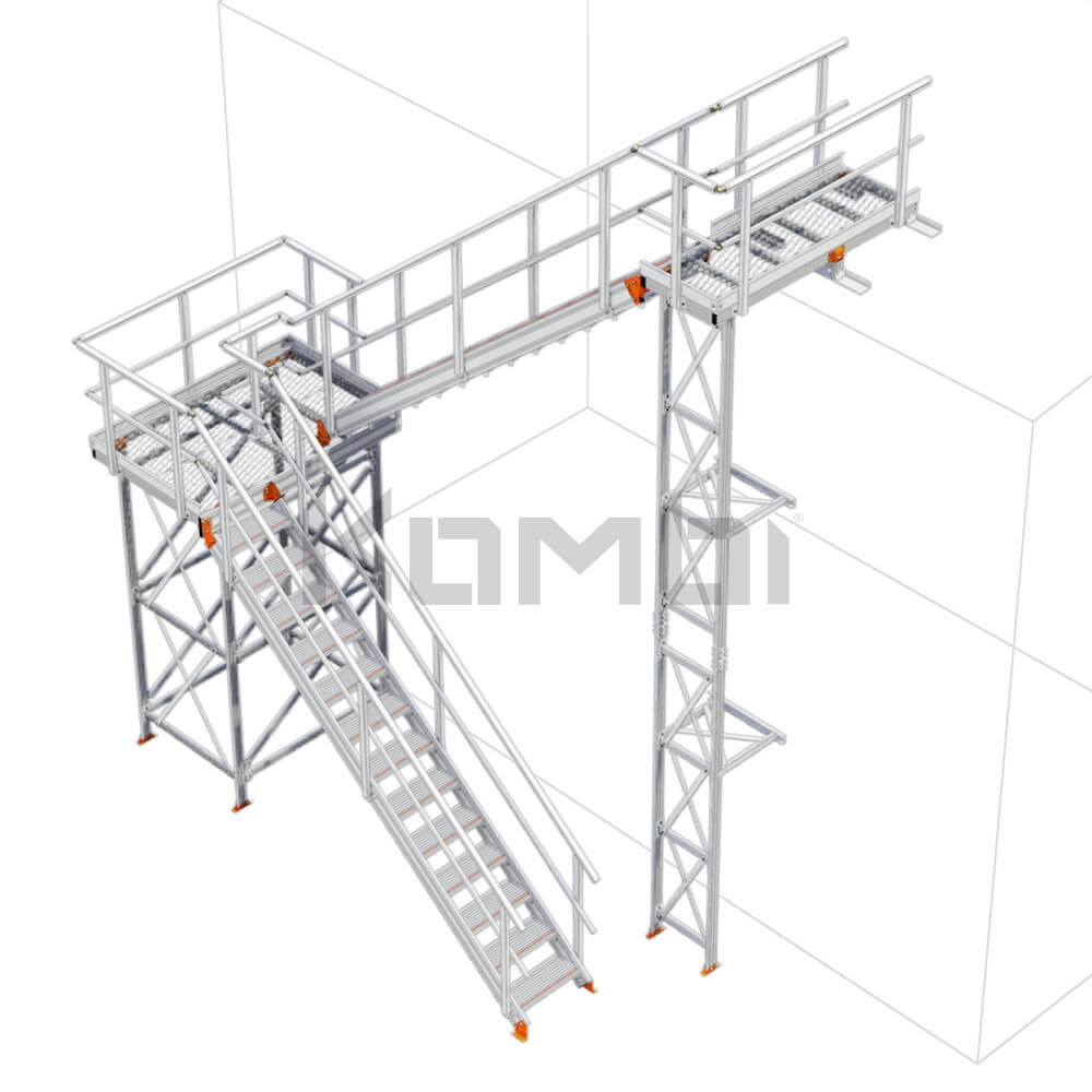 Image of Kombi KS60L stair and platform, U-shape, 2 stage, left exit - click to download