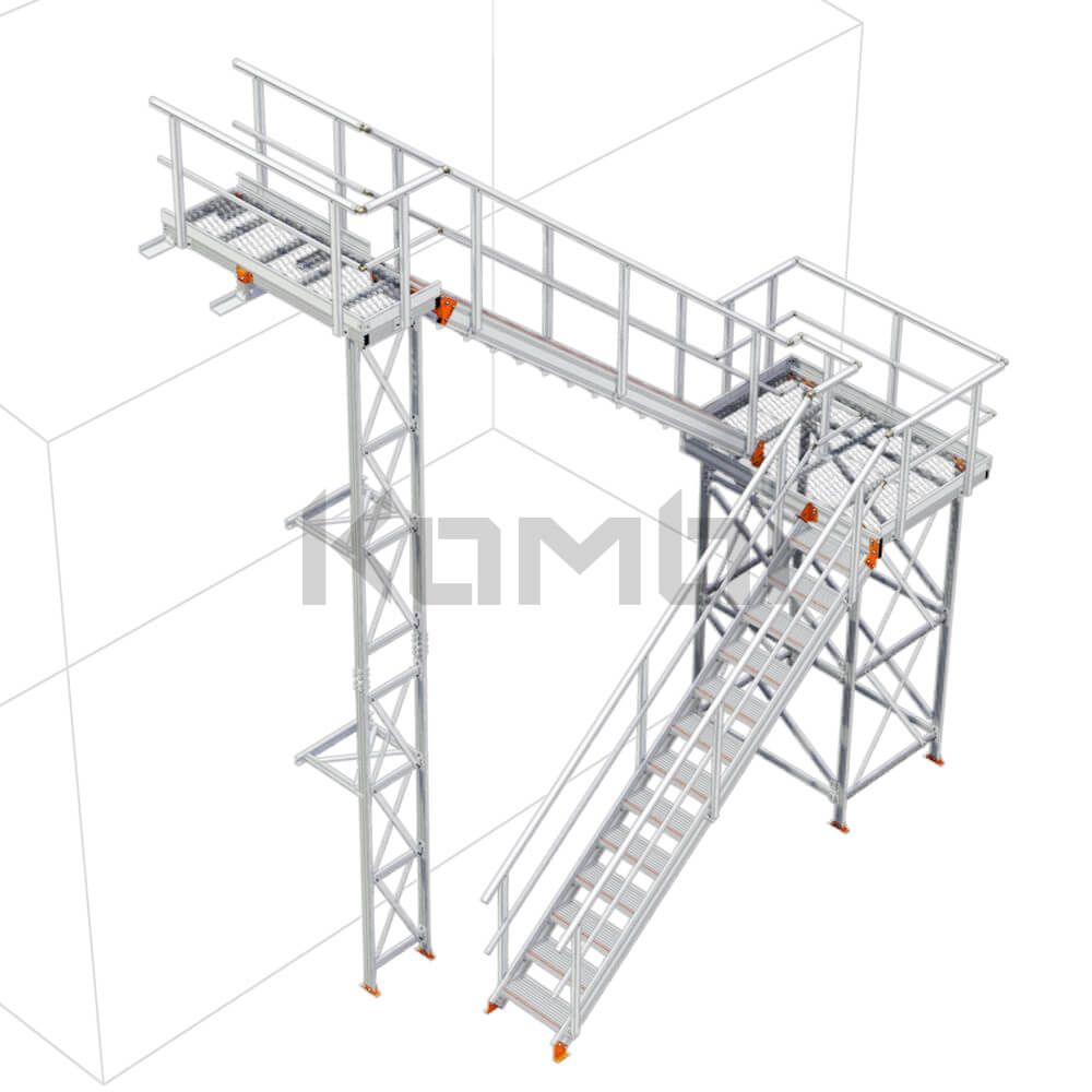 Image of Kombi KS60R stair and platform, U-shape, 2 stage, right exit - click to download
