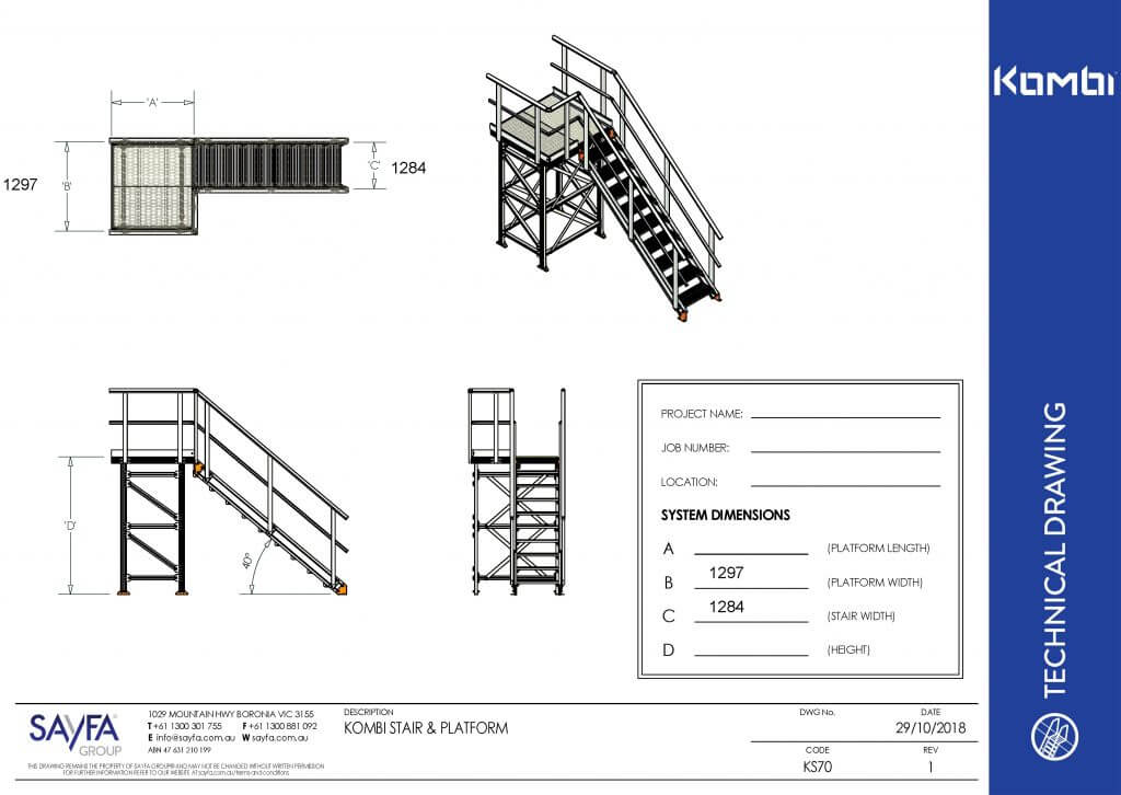 KS70 - Kombi Modular Stair and Platform - Drawing Image