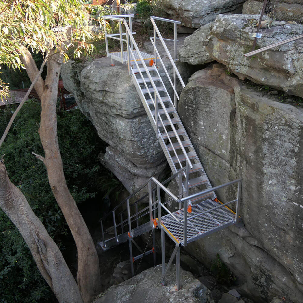 Kombi Stair and Platforms installed on cliff face