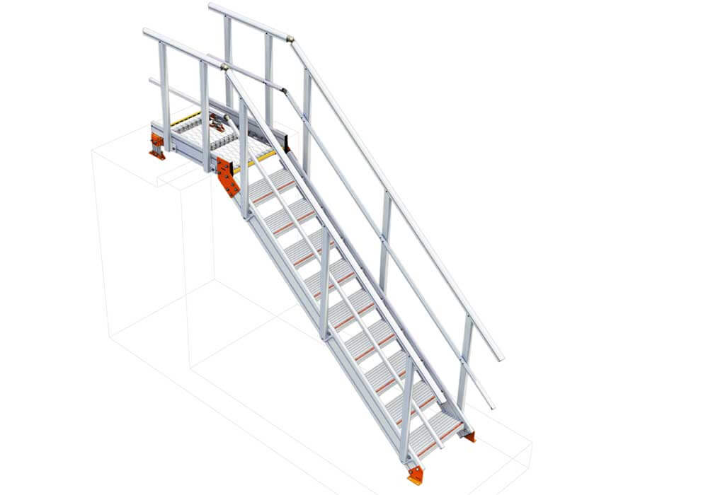 Link to Kombi KS20 3D interactive model of modular engineered stairs and platform