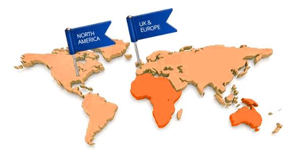Map of America & UK showing Kombi distributors
