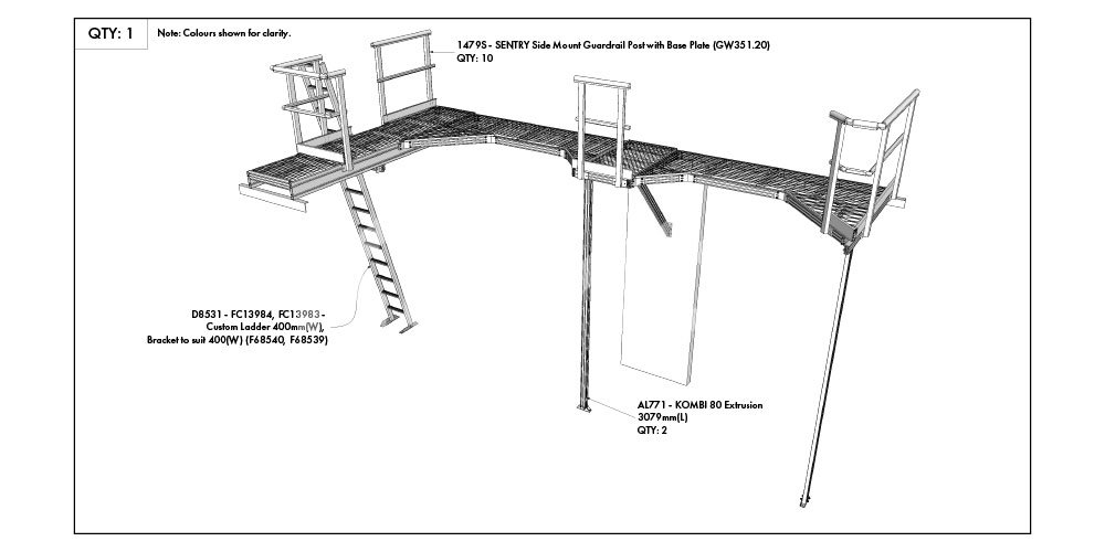 Kombi modular stair and platform systems drawing