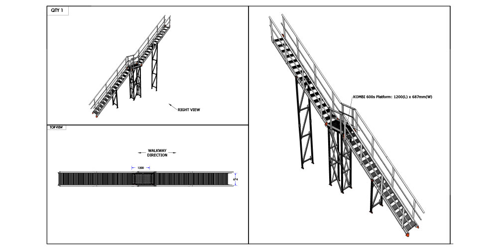 Kombi stair and platform system drawing