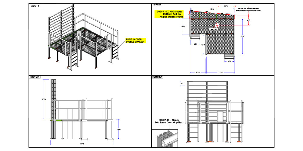 Kombi modular stair and platform system drawing