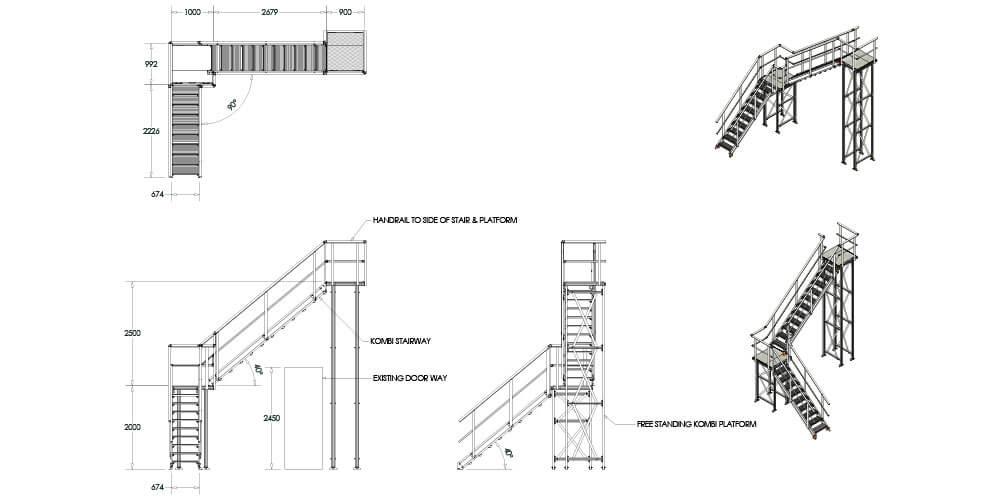 Kombi modular stair and platform system drawing