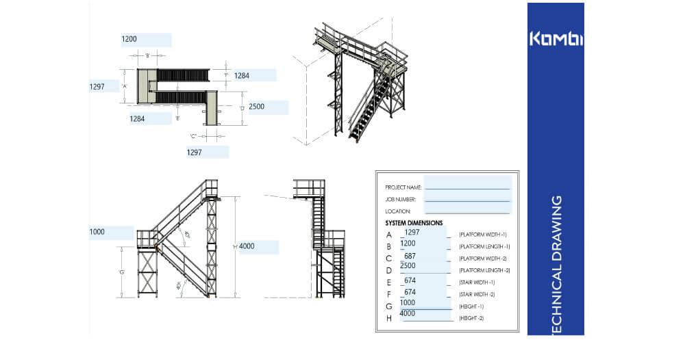 Kombi stair and platform drawings