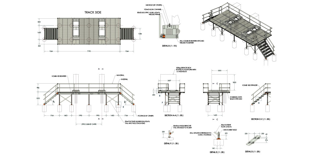 Kombi Modular Stair and Platform Technical Drawing