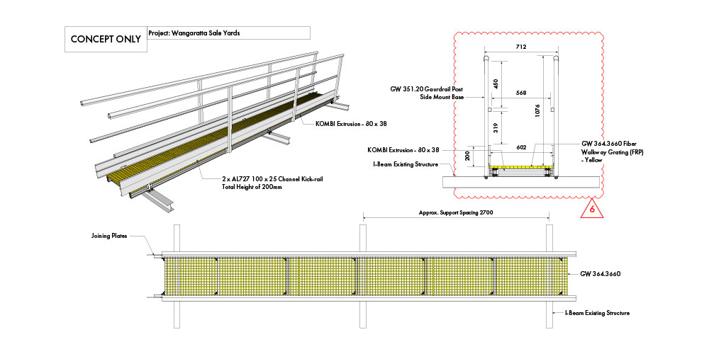 Kombi stair and platform drawing