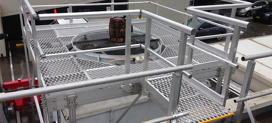 Kombi elevated platform installed on cooling tower