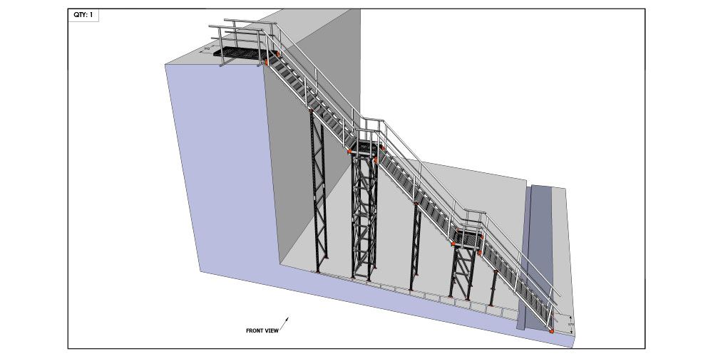Junction Oval - Kombi modular aluminium access stair and platform system