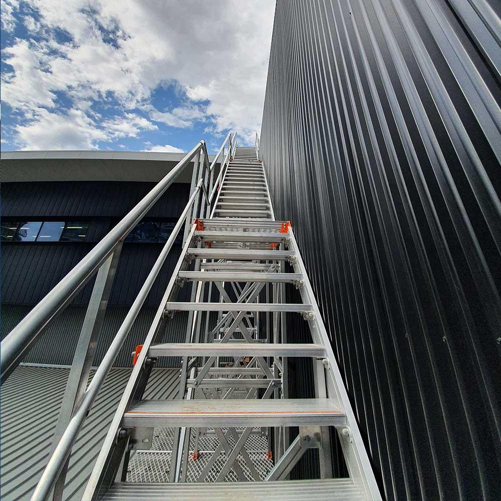 Installation of Kombi aluminium modular stair and platform system at Junction Oval