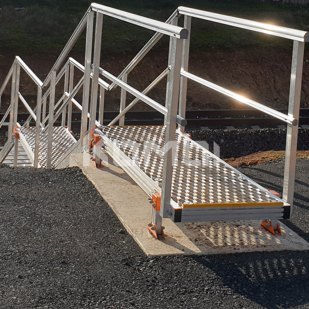 Kombi modular aluminium access stair and access platform systems install on Ballarat Line