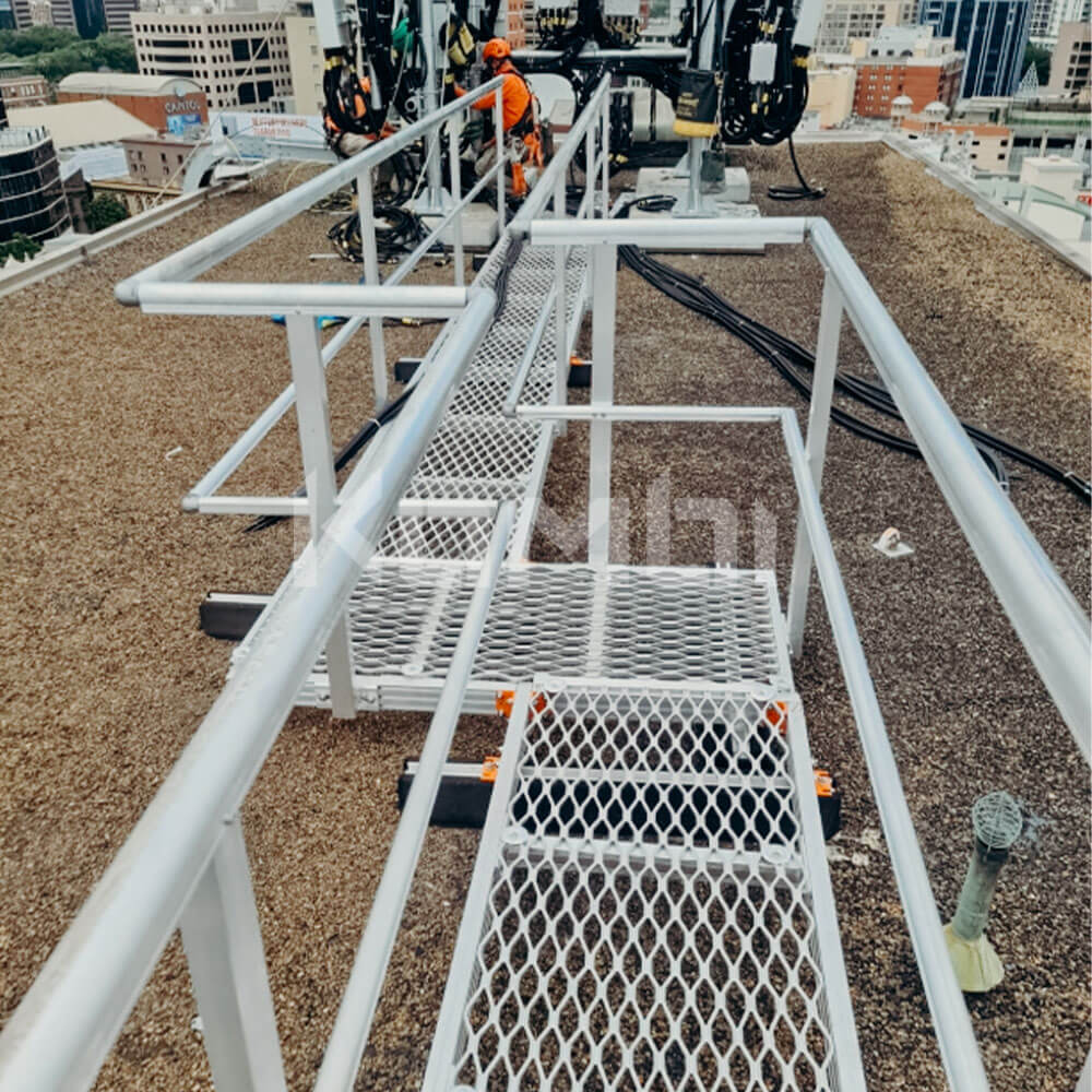 Kombi Walkway installed providing roof top access to HVAC plant
