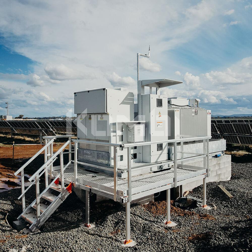 Kombi aluminium Stairs and Platforms installed at solar farm plant