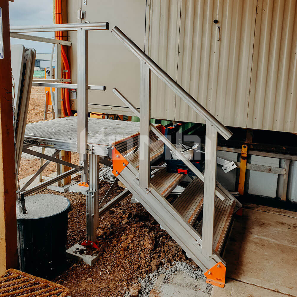 Access to site shed provided by Kombi Stairs and Platform