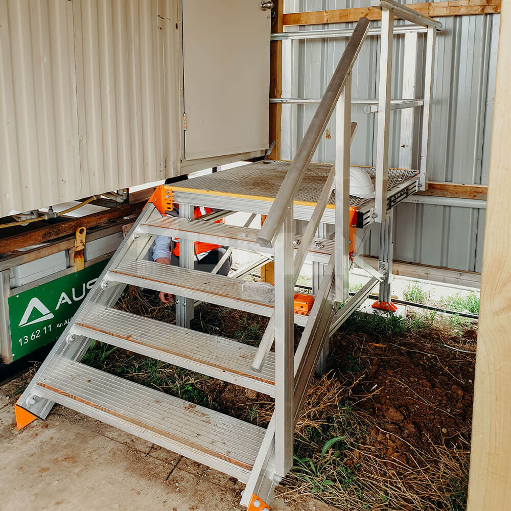 Kombi Stairs and Platform giving access to Ausco site shed
