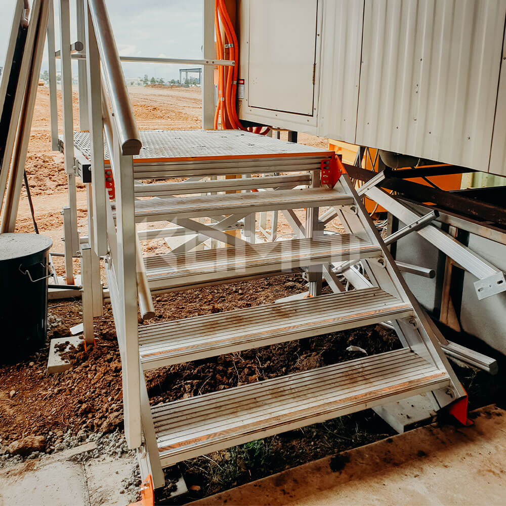 Kombi Stairs and Platform provide modular access to Ausco site shed