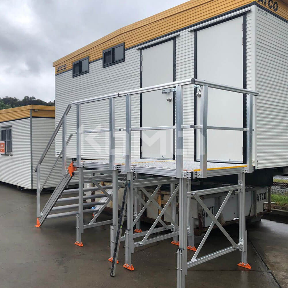 KOMBI Stairs and Platforms installed on site shed for safe access