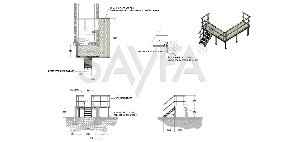 Kombi Stairs and Platform Drawing for solar farm