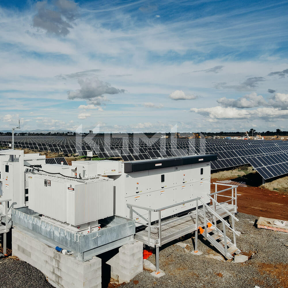Aluminum platforms and stairs provide access to solar farm plant